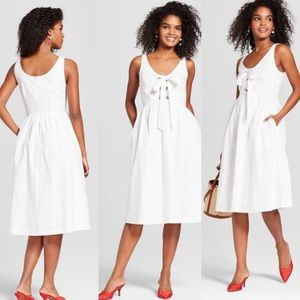 Whowhatwear white sleeveless tie up sundress ☀️